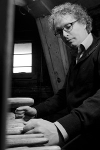 Teun Michiels at the Carillon Keyboard